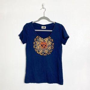 Lucky Brand short sleeve v-neck blue graphic tee